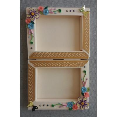 Beautiful Handmade Paper Frame Card Decorated with Quilled Paper Flowers