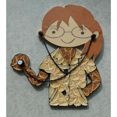 Beautiful Handmade Wall Hanging Decorated Quilled Girl Characters