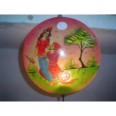 Beautifully Painted Wall Plate Lamp