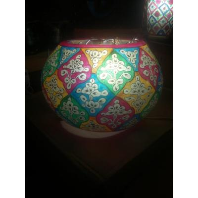 Multi coloured flower painted Hanging Lamp