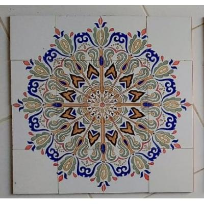 Blue Flowers Hand Painted Tiles Panel