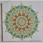 Green Flowers Hand Painted Tiles Panel