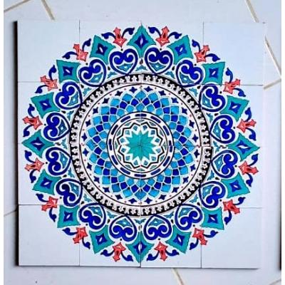 Blue Hearts Hand Painted Tiles Panel