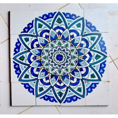 Blue Dahlia Flower Tile Panel