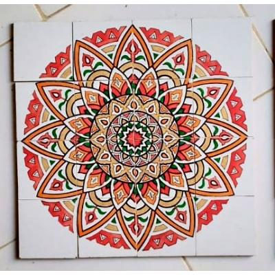 Red Dahlia Flower Tile Panel