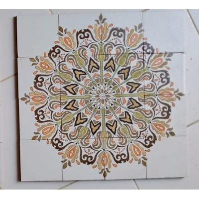 Brown Flowers Hand Painted Tiles Panel
