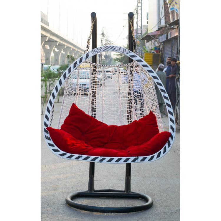 Swing Chair Plastic Weaving Double White