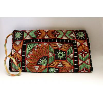 Embroidery Clutch (Green & Black )