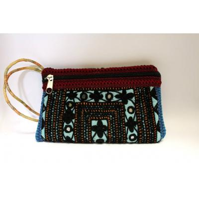 Embroidery Clutch (Black & blue)