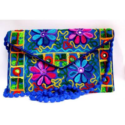 Blue Kashmiri Embroidery work Clutch