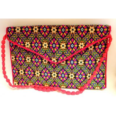 Embroidery Clutch Pink Yellow