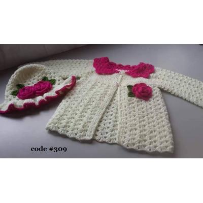 Hand Knitted Baby Frock White