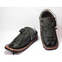Black Muree Cut Balochi Chappal