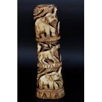 Camel Bone Carved Attacking Lion