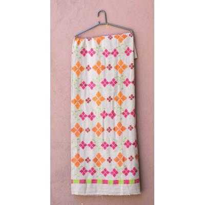 White Embroidered unstitched flowered Kurti