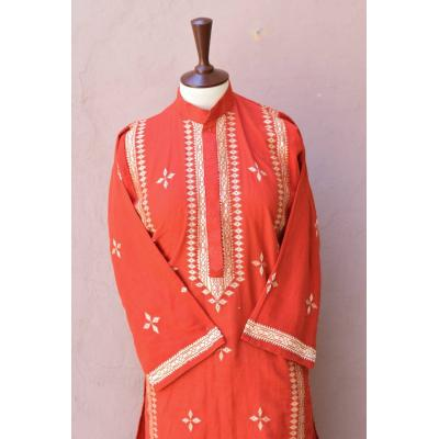 Phulkari Embroidered peach red kurti