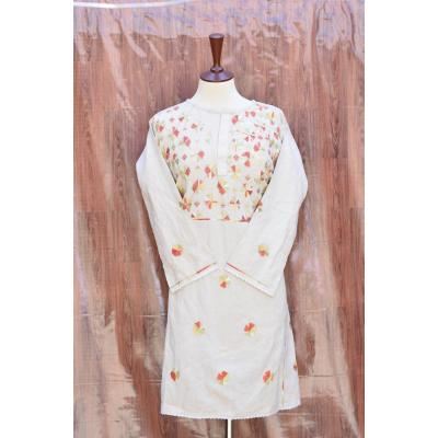 white skin embroidered kurti