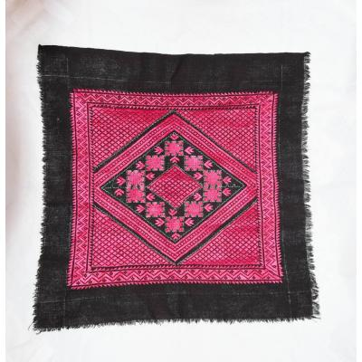 black pink embroidered cushion cover