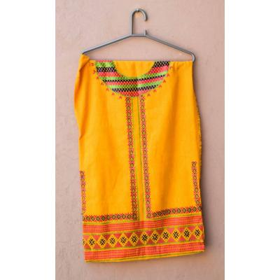 yellow embroidered kids kurti