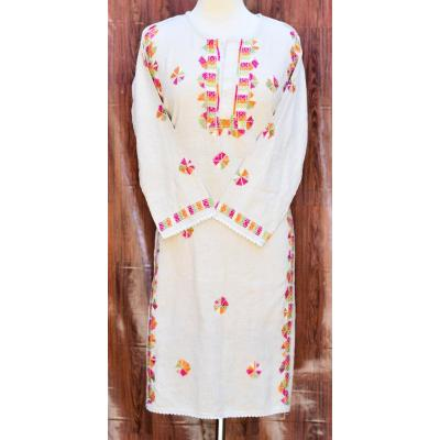 white and pink embroidered kurti