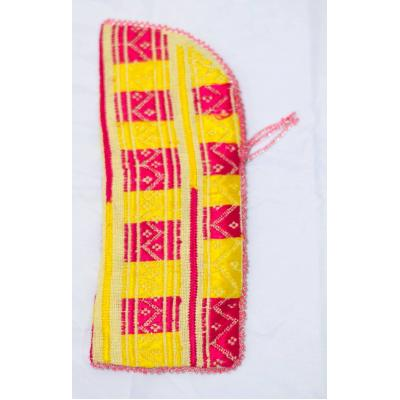 yellow and pink embroidered mobile cover