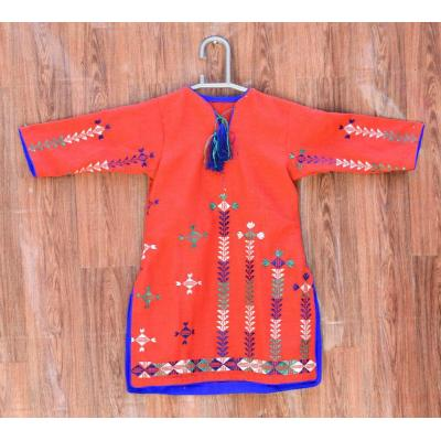 red and blue embroidered kids kurti