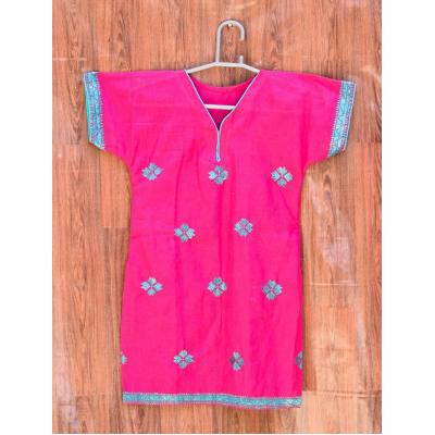 pink ferozi embroidered kurti