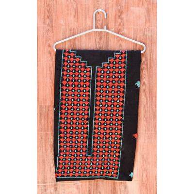 black and red embroidered unstitched kurti
