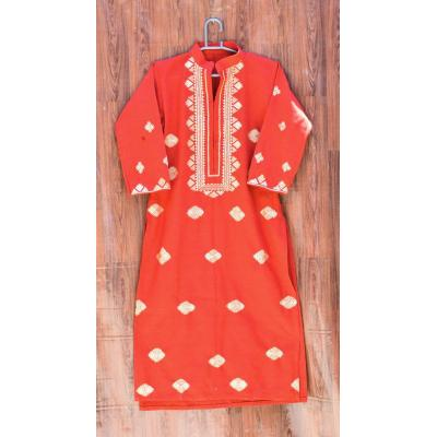 orange red embroidered kurti