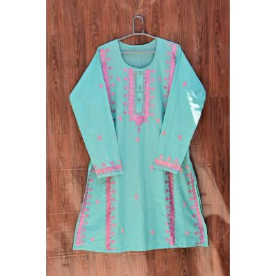 ferozi pink embroidered kurti