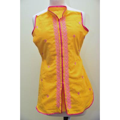 yellow embroidere kurta