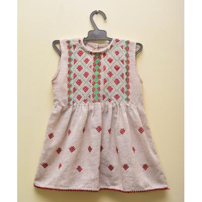 white embroidered kids frock