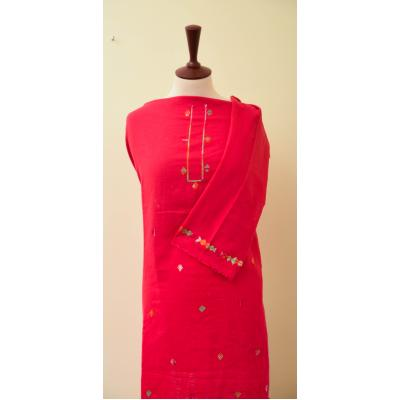 deep pink embroidered kurta