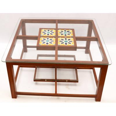 Glass Table With Wood n Tile Work