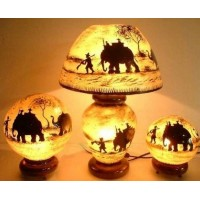 Camel skin lamp objects painted