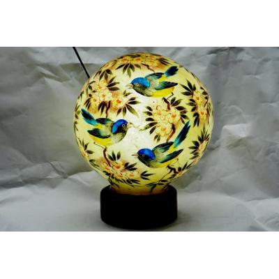 Beautiful Camel Skin Globe Shape Sparrow Painted Lamp