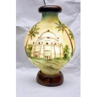 Camel skin kuppa lamp with shrine painted