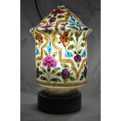 Beautiful Camel Skin Cone Globe Shape Flower Painted Lamp