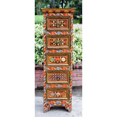 Almarih Large with Swati paint made of Kail wood, 5 draws