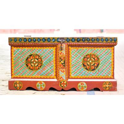 Swati Hand Painted Wooden and Brass Sandooq or Box