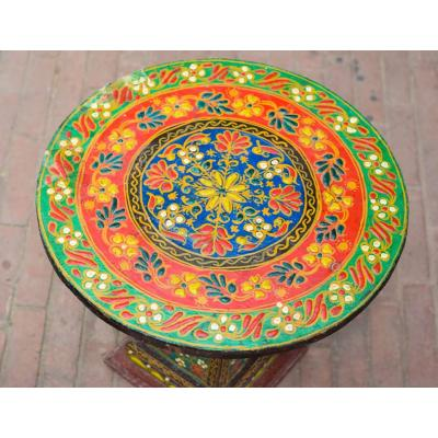 Swati Hand Painted Wooden Small Round Table