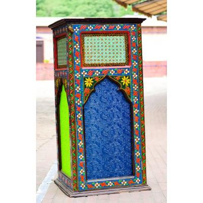 Swati Hand Painted Wooden and Glass Lamp for Room