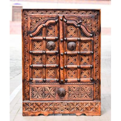 Sawati hand-carved multipurpose cabinet with beautiful floral design