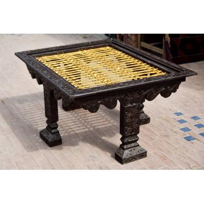 Hand carved metal work table