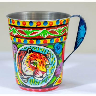 Truck art metal mug with handle