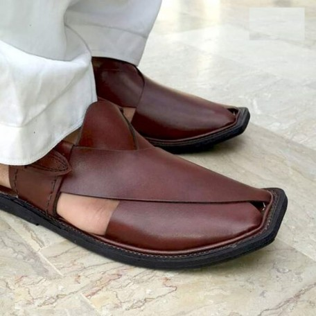 Brown Peshawari Chappal with Light Sole
